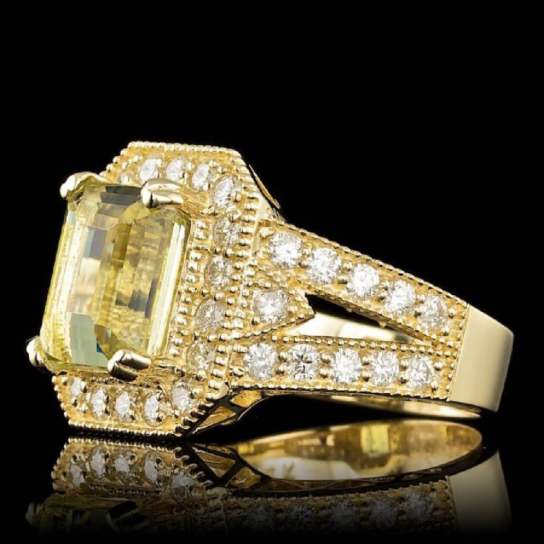 14k Yellow Gold 4.00ct Beryl 1.30ct Diamond Ring - 2