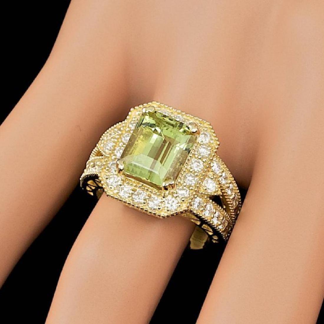 14k Yellow Gold 4.00ct Beryl 1.30ct Diamond Ring - 4