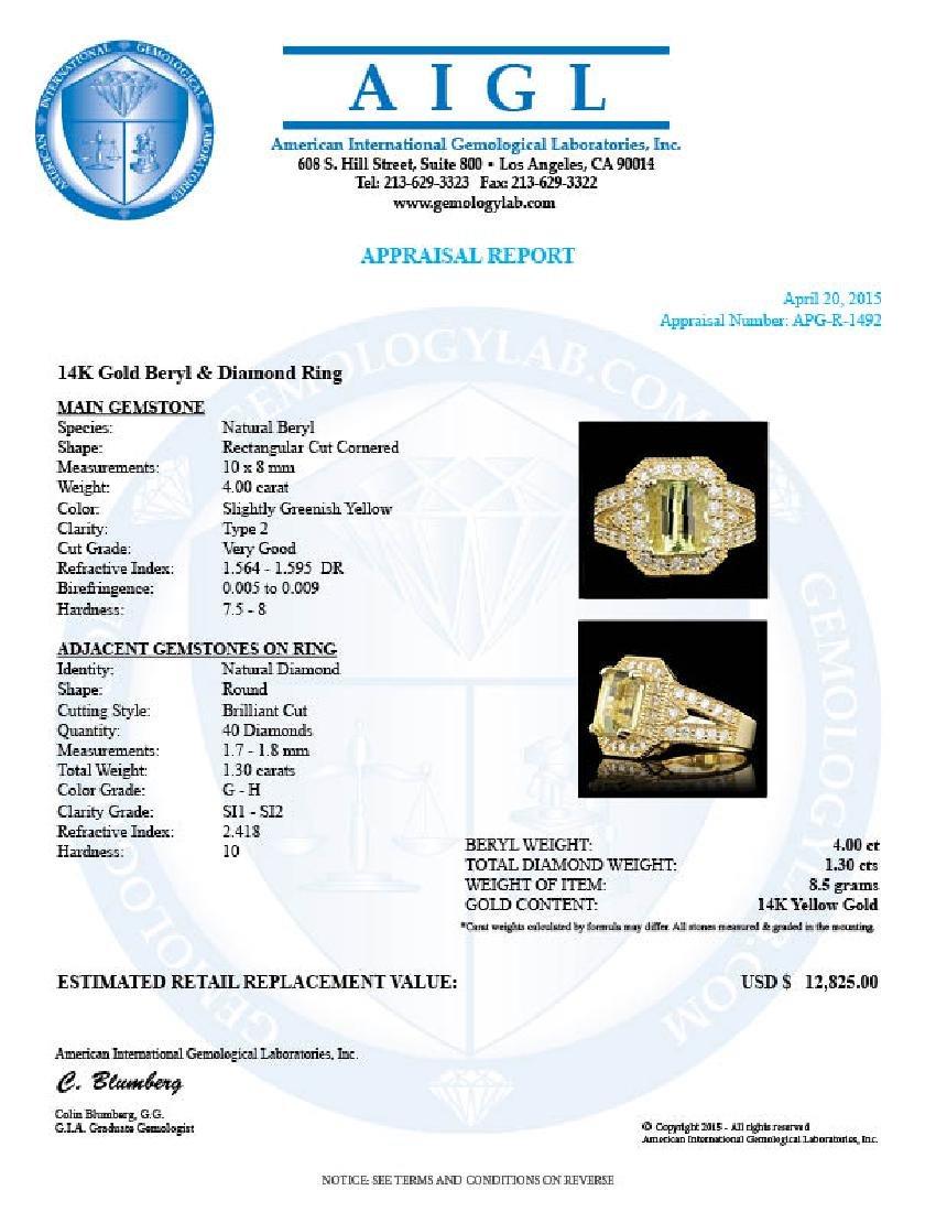 14k Yellow Gold 4.00ct Beryl 1.30ct Diamond Ring - 5