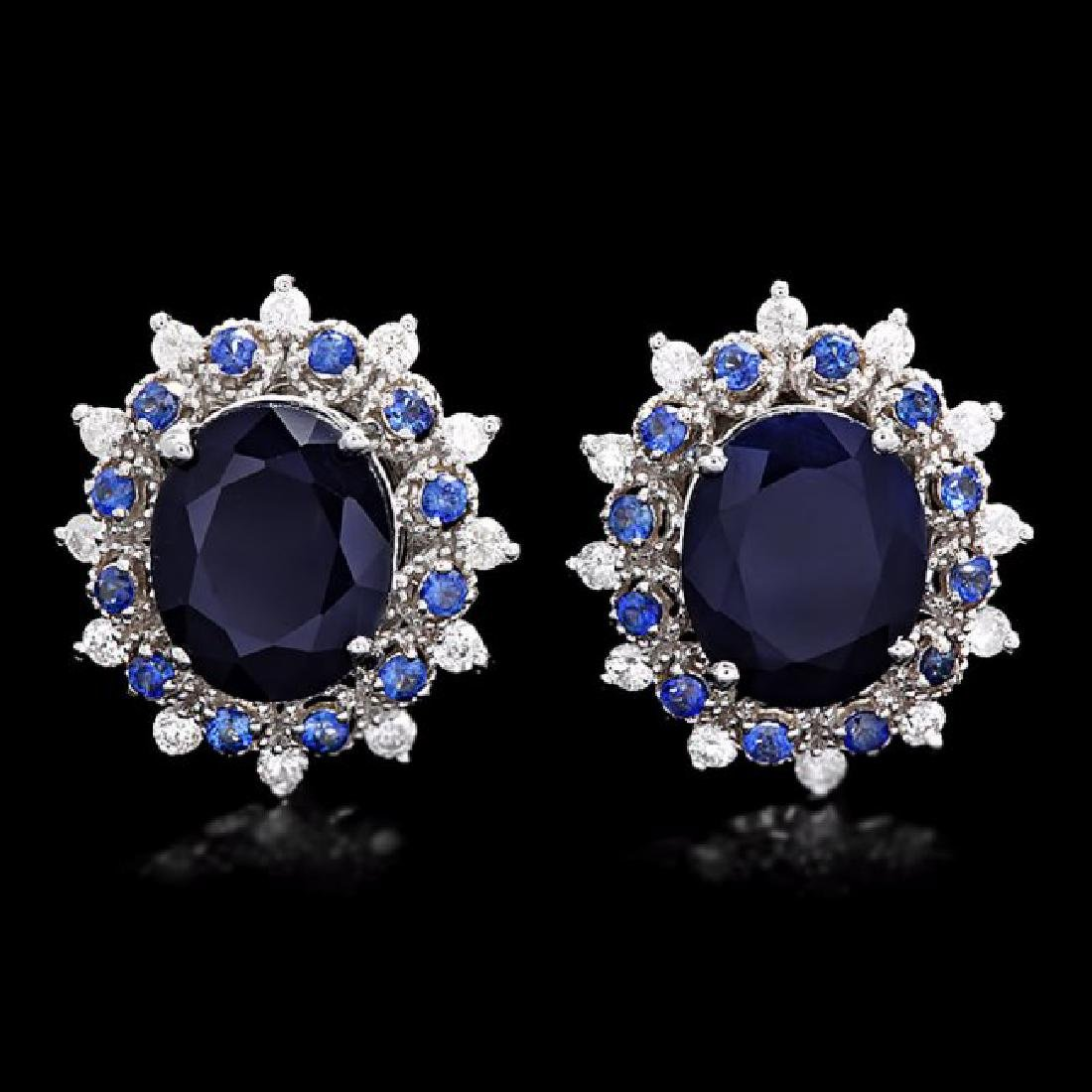 14k Gold 8.2ct Sapphire 0.75ct Diamond Earrings