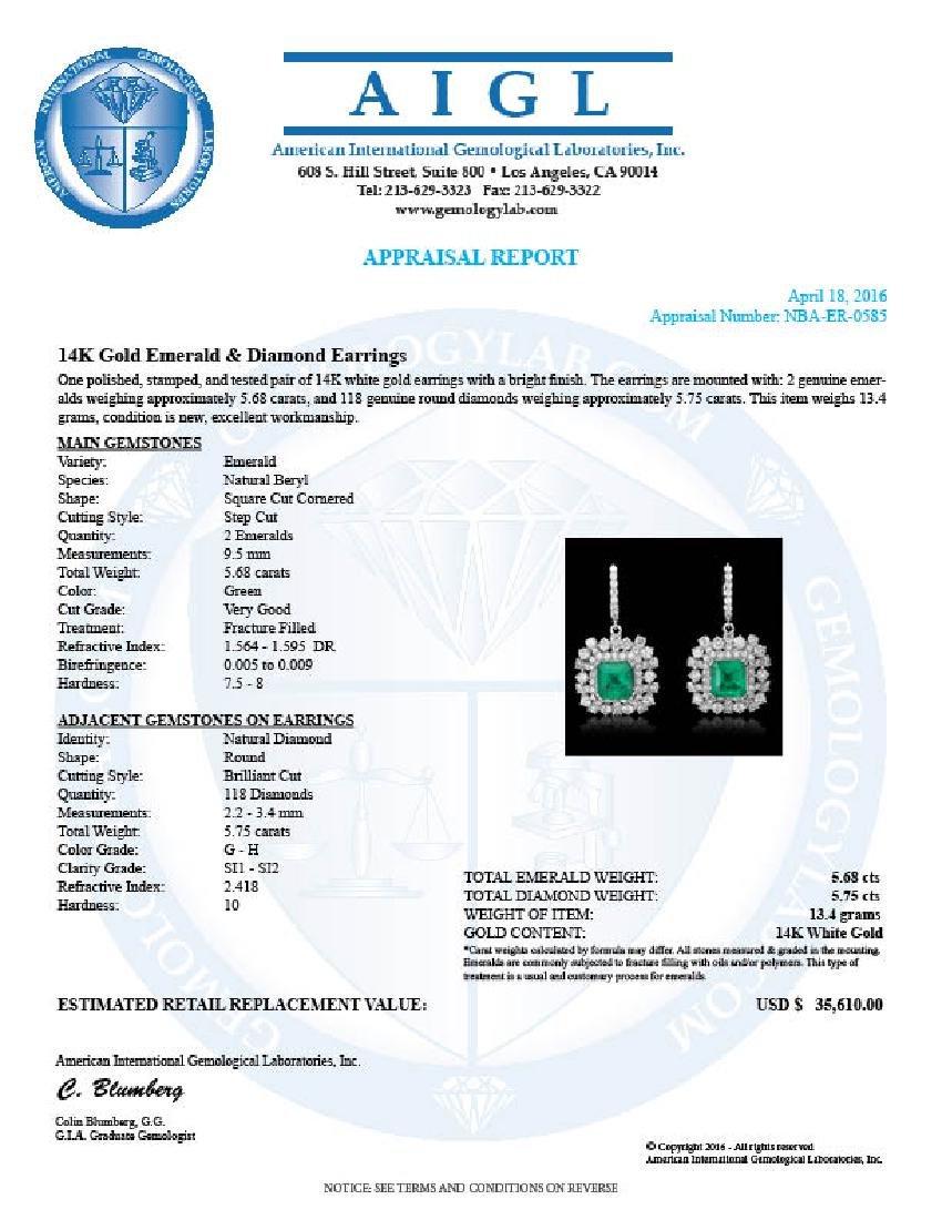 14K Gold 5.68ct Emerald 5.75ct Diamond Earrings - 4