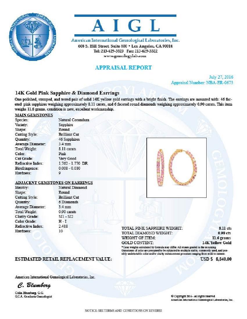 14K Gold 8.11ct Pink Sapphire 0.90cts Diamond Earrings - 2
