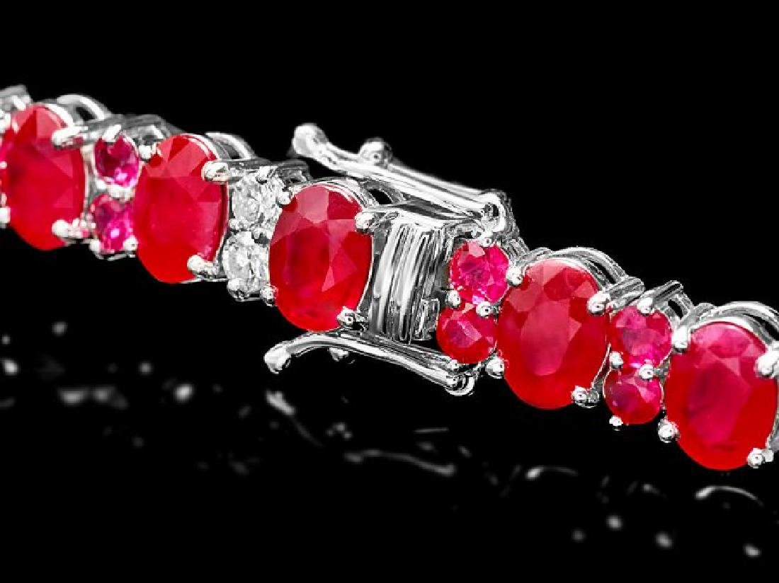 14k Gold 24.8ct Ruby 1.25ct Diamond Bracelet - 3