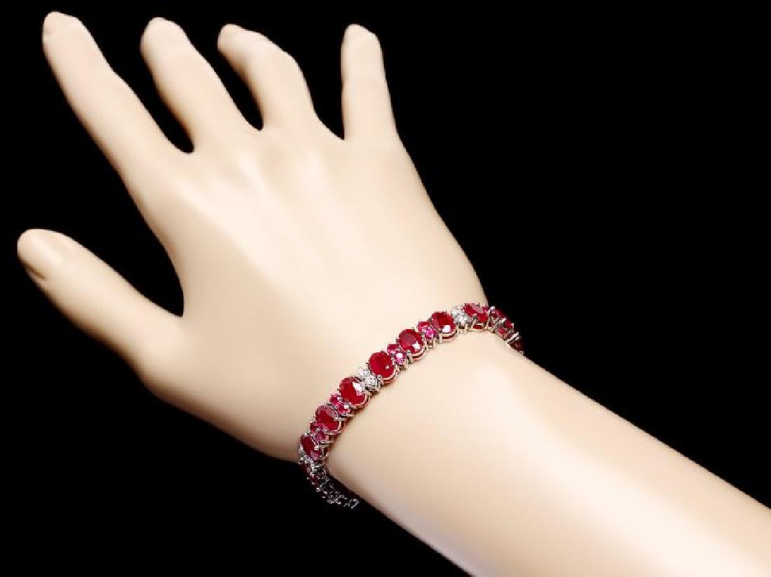 14k Gold 24.8ct Ruby 1.25ct Diamond Bracelet - 5