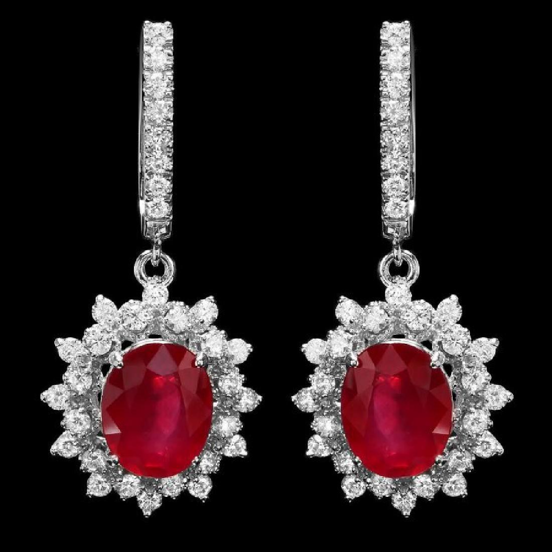 14k White Gold 7.6ct Ruby 1.70ct Diamond Earrings - 2