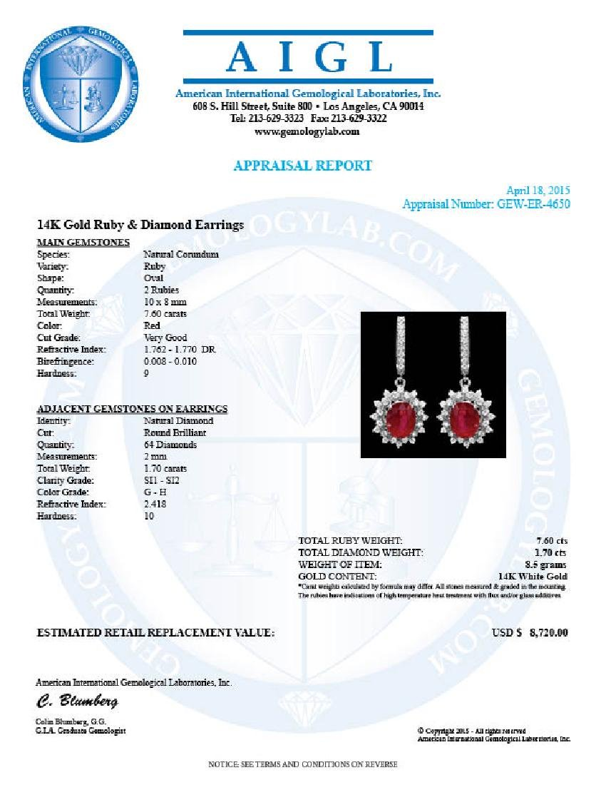 14k White Gold 7.6ct Ruby 1.70ct Diamond Earrings - 3