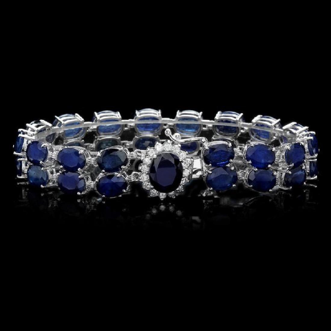 14k Gold 49.5ct Sapphire 0.65ct Diamond Bracelet