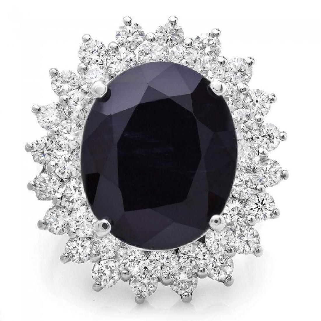 14k Gold 11.50ct Sapphire 2.50ct Diamond Ring - 2