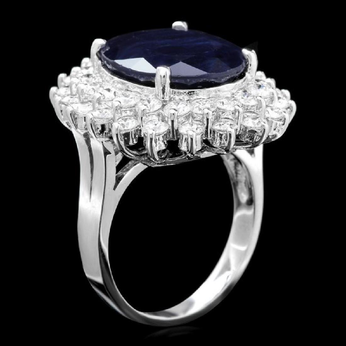 14k Gold 11.50ct Sapphire 2.50ct Diamond Ring - 3