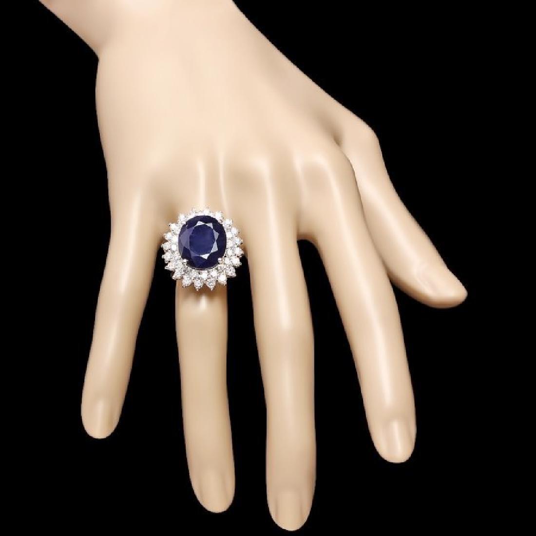 14k Gold 11.50ct Sapphire 2.50ct Diamond Ring - 4