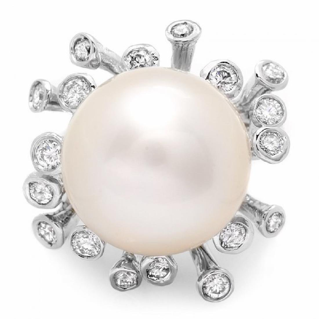 14k White Gold 15mm Pearl 0.85ct Diamond Ring - 3