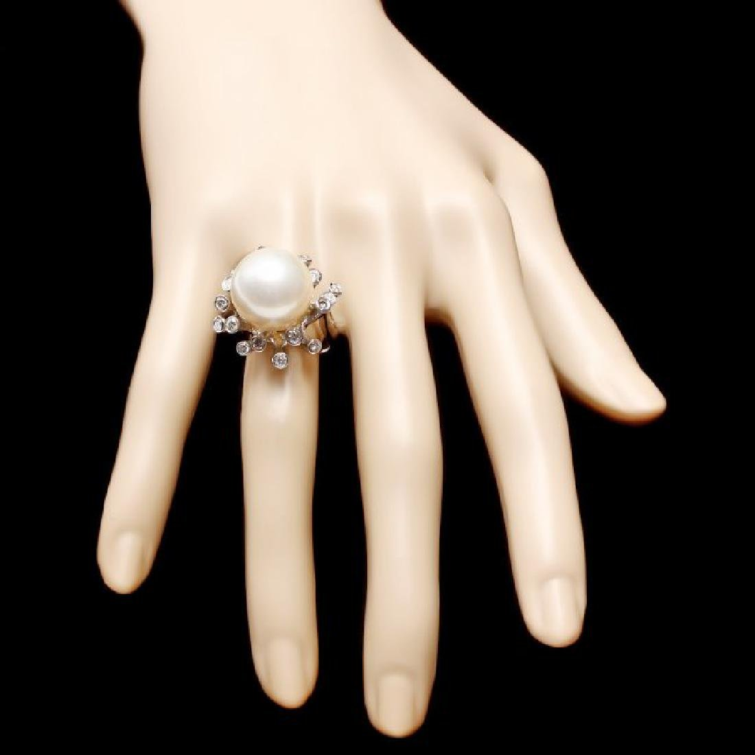 14k White Gold 15mm Pearl 0.85ct Diamond Ring - 4