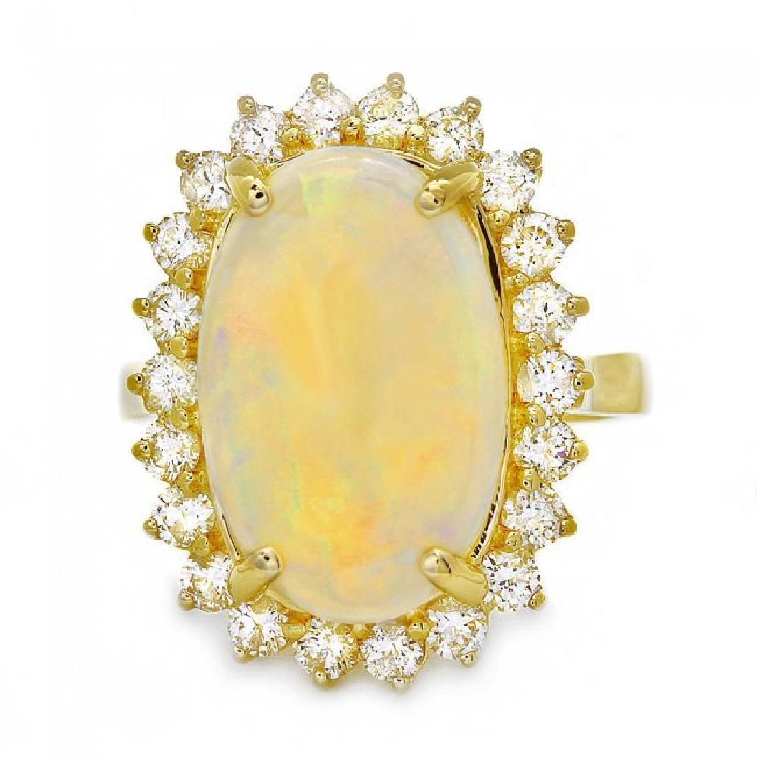14k Yellow Gold 4.00ct Opal 1.00ct Diamond Ring - 2