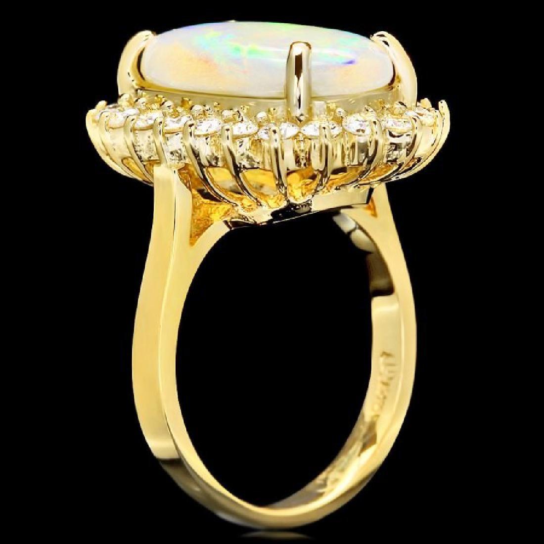 14k Yellow Gold 4.00ct Opal 1.00ct Diamond Ring - 3