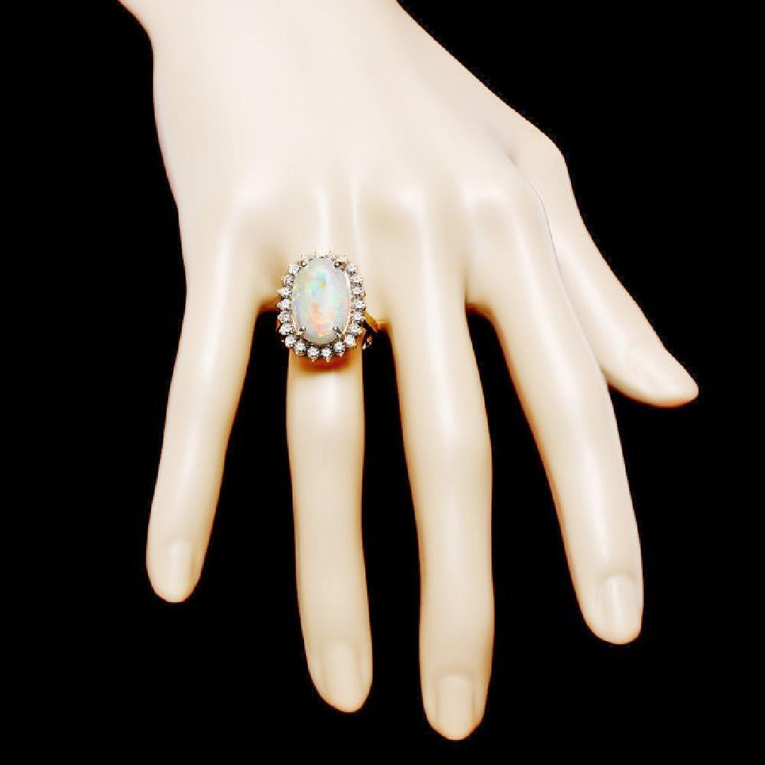 14k Yellow Gold 4.00ct Opal 1.00ct Diamond Ring - 4