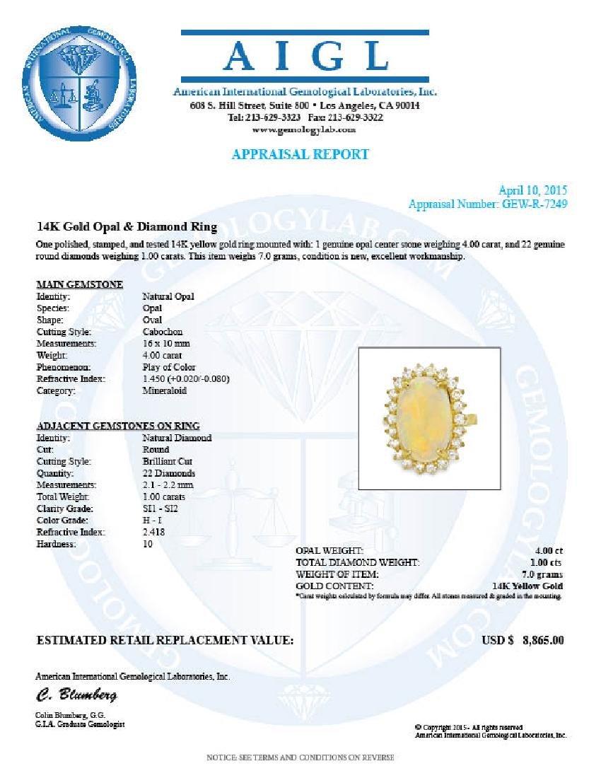 14k Yellow Gold 4.00ct Opal 1.00ct Diamond Ring - 5