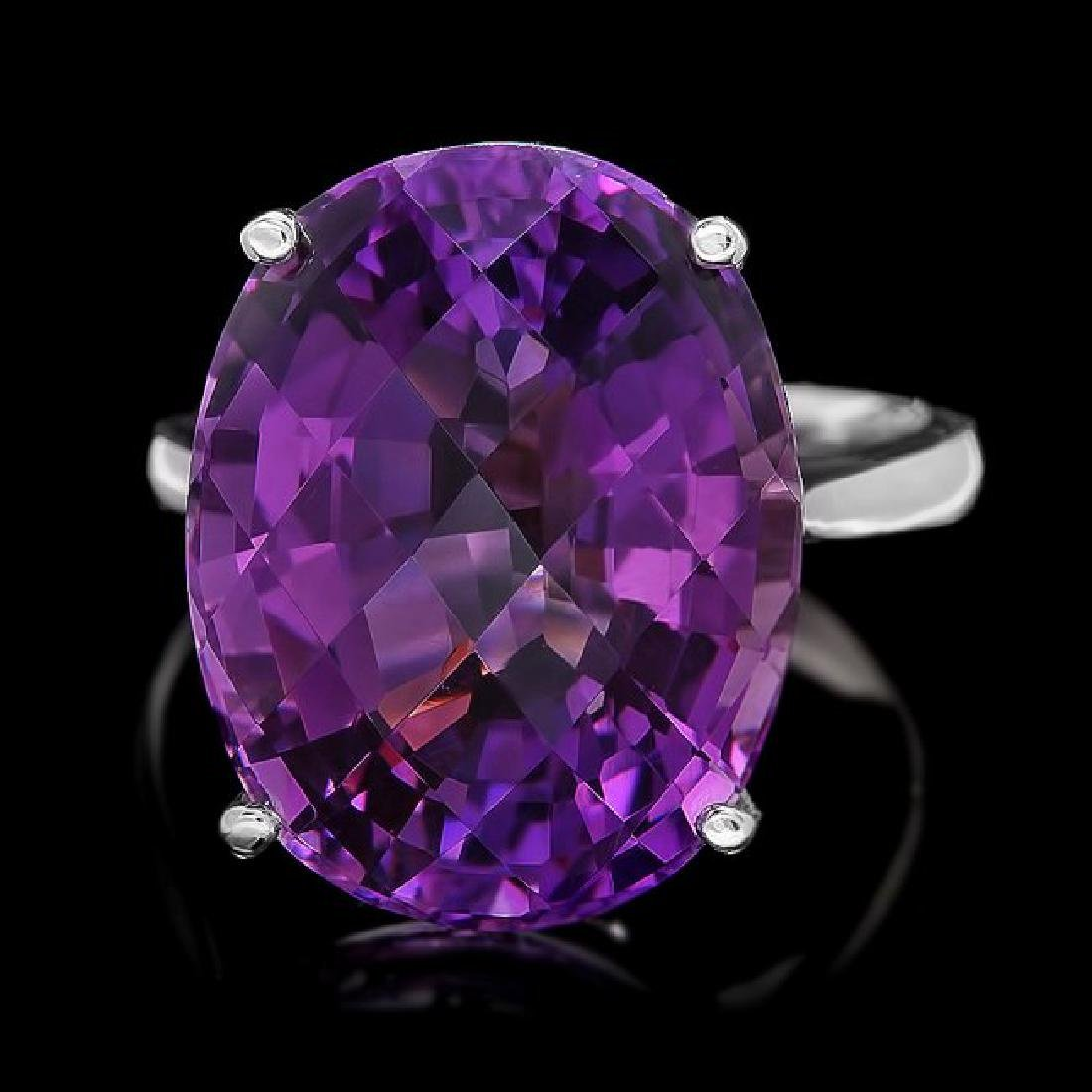 14k White Gold 15.00ct Amethyst Ring
