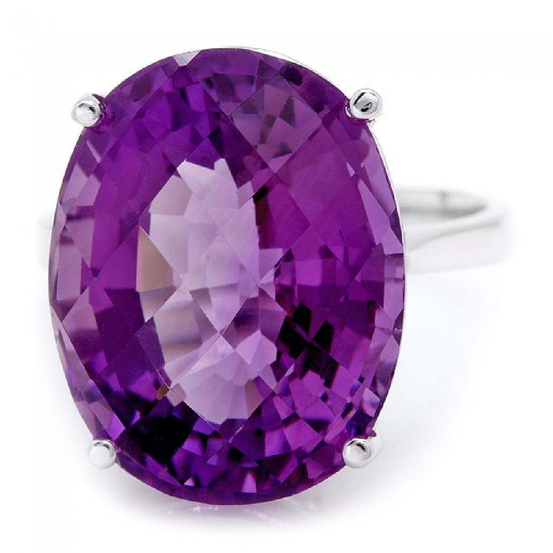 14k White Gold 15.00ct Amethyst Ring - 2