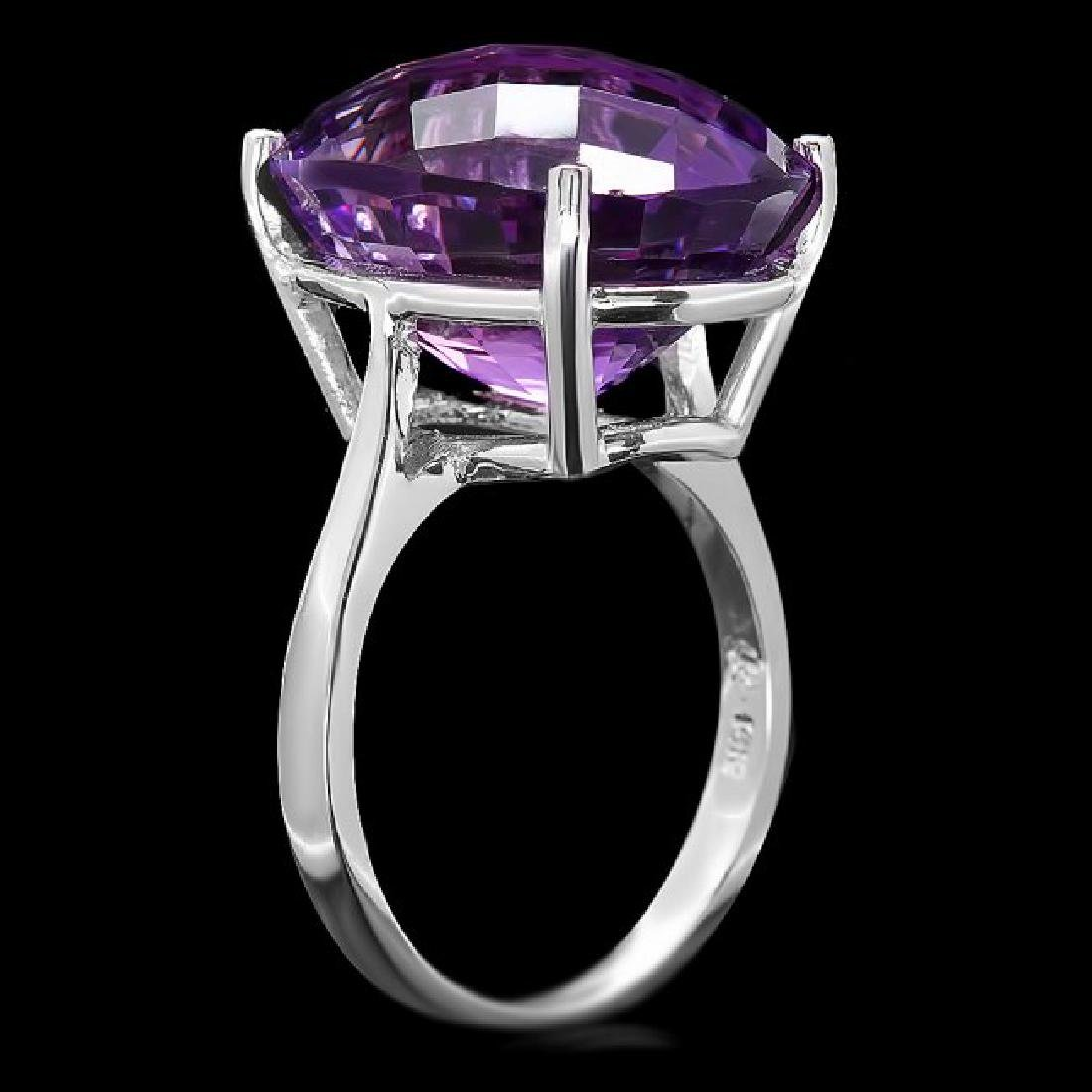 14k White Gold 15.00ct Amethyst Ring - 3
