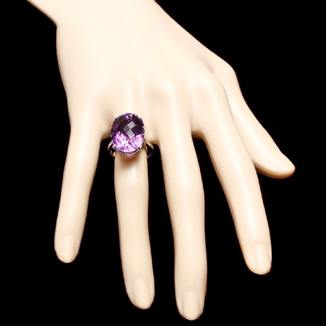 14k White Gold 15.00ct Amethyst Ring - 4