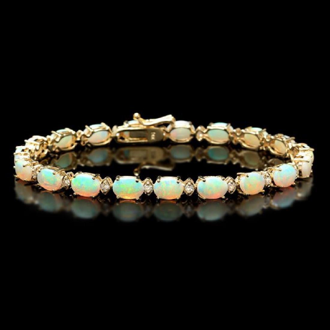 14k Gold 8.20ct Opal 0.70ct Diamond Bracelet