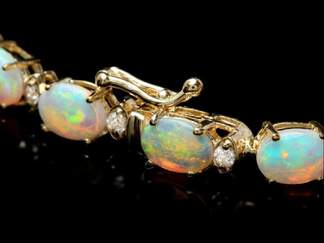 14k Gold 8.20ct Opal 0.70ct Diamond Bracelet - 2