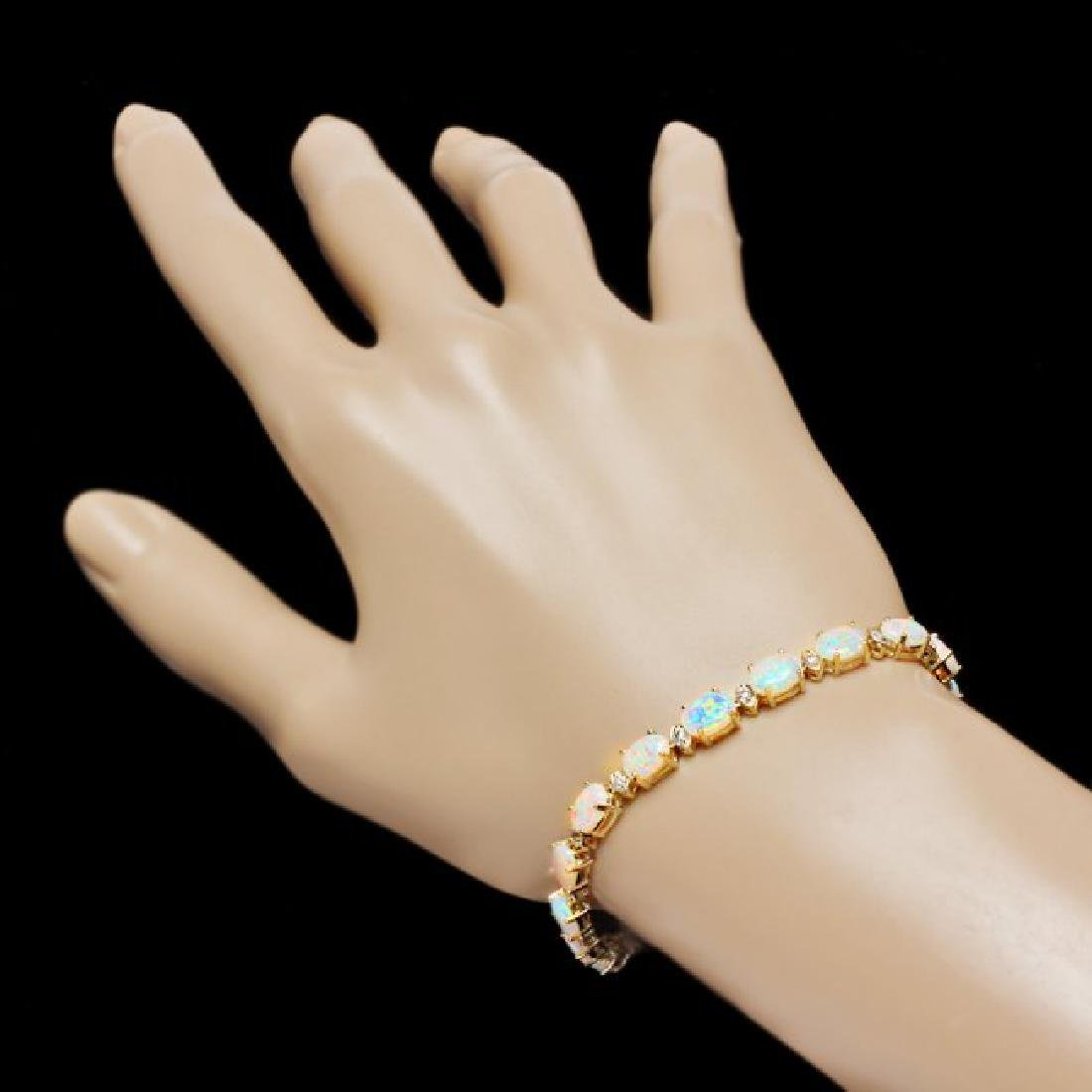 14k Gold 8.20ct Opal 0.70ct Diamond Bracelet - 4