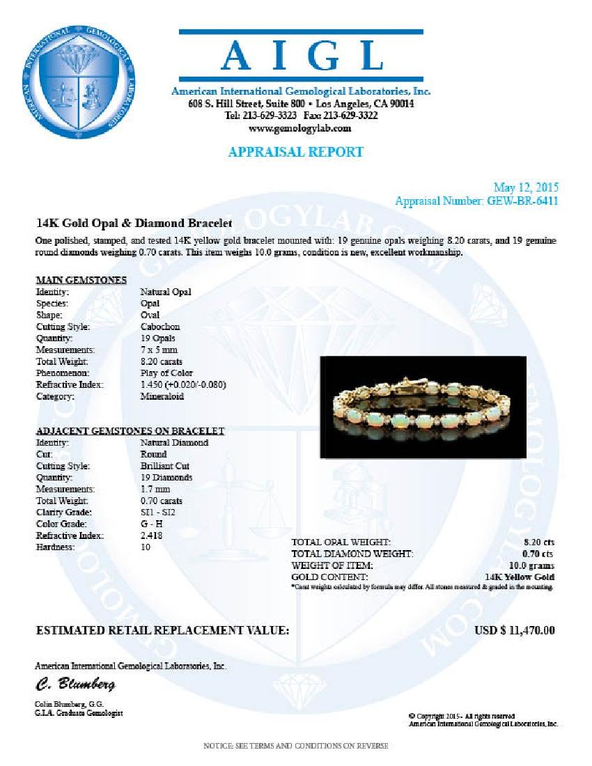 14k Gold 8.20ct Opal 0.70ct Diamond Bracelet - 5