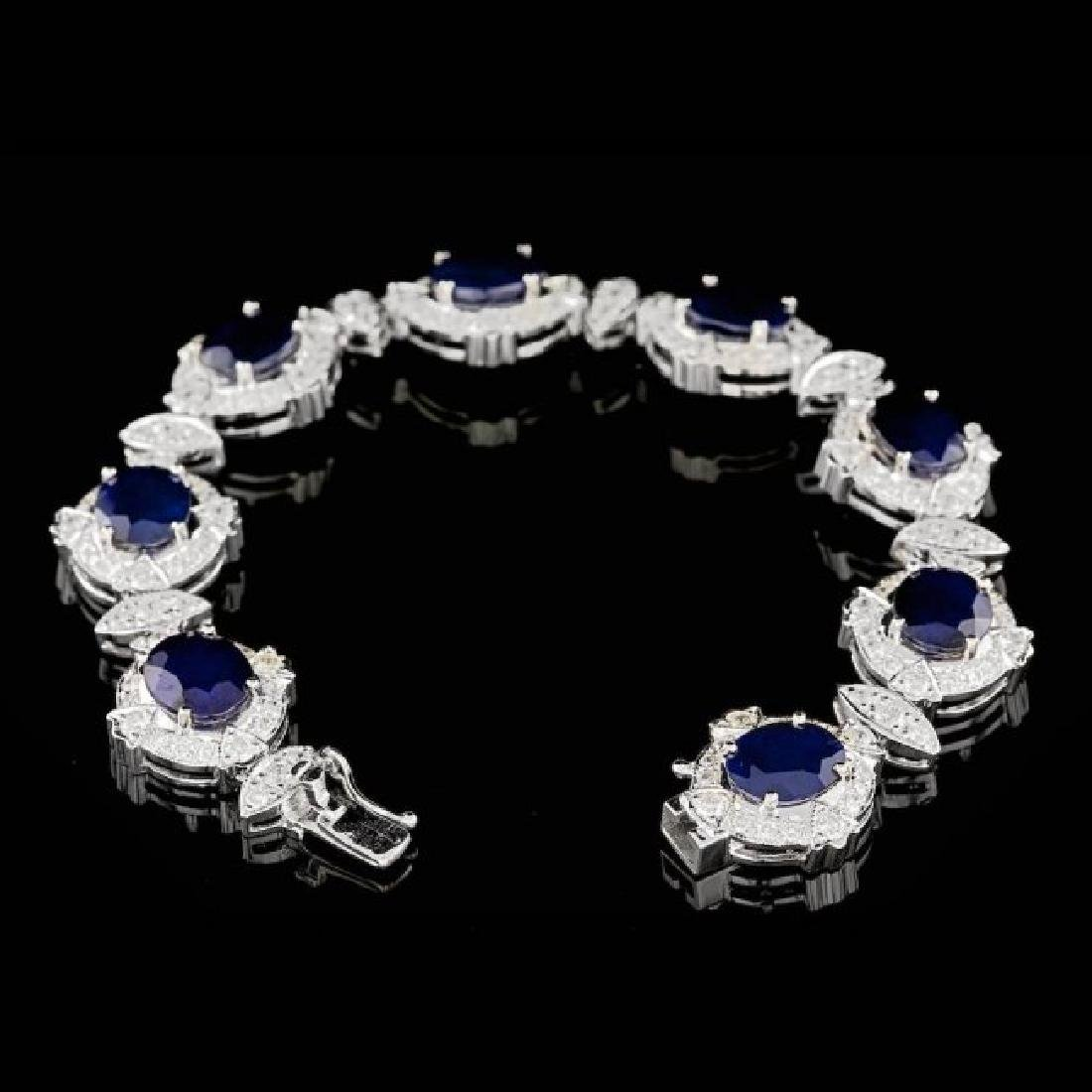 14k Gold 24.50ct Sapphire 5.50ct Diamond Bracelet - 2
