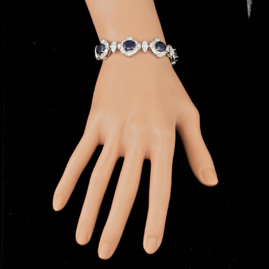 14k Gold 24.50ct Sapphire 5.50ct Diamond Bracelet - 4