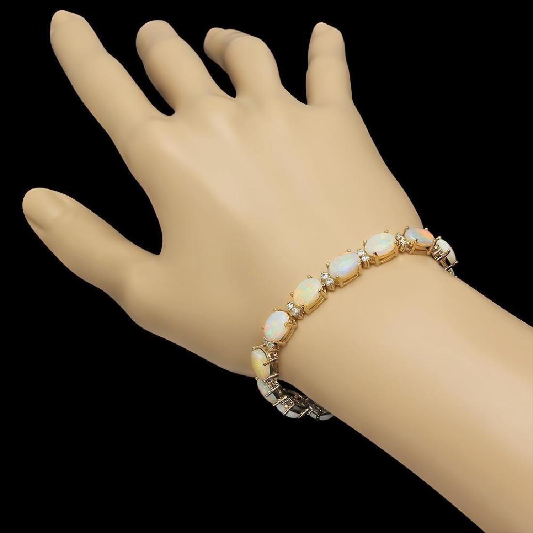14K Gold 16.97ct Opal 1.45ct Diamond Bracelet - 2