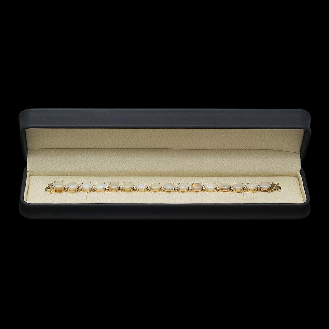 14K Gold 16.97ct Opal 1.45ct Diamond Bracelet - 3