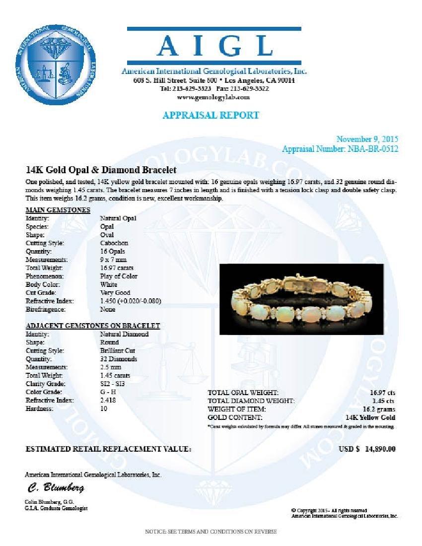 14K Gold 16.97ct Opal 1.45ct Diamond Bracelet - 4
