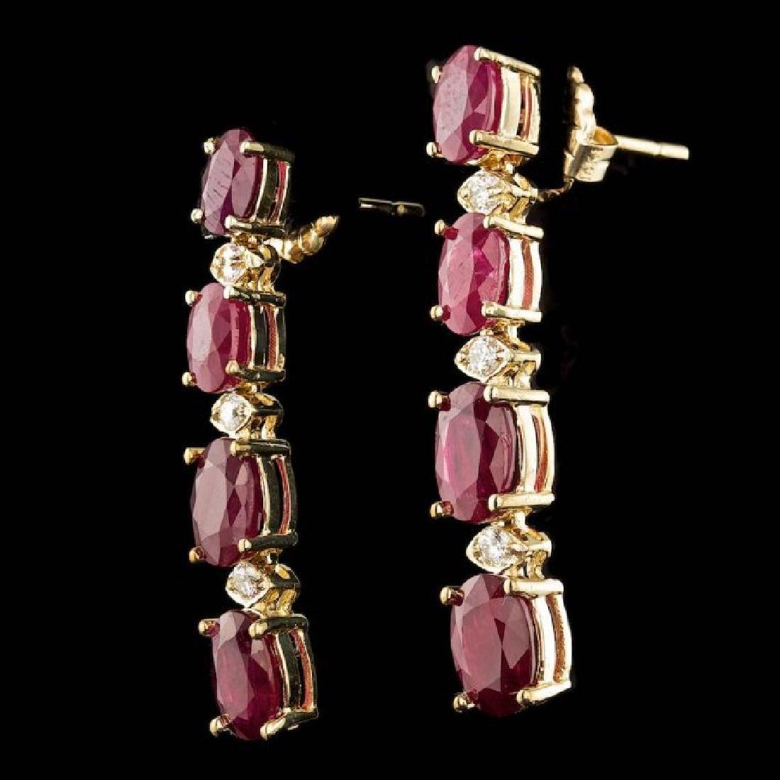 14k Gold 7.00ct Ruby 0.20ct Diamond Earrings - 2