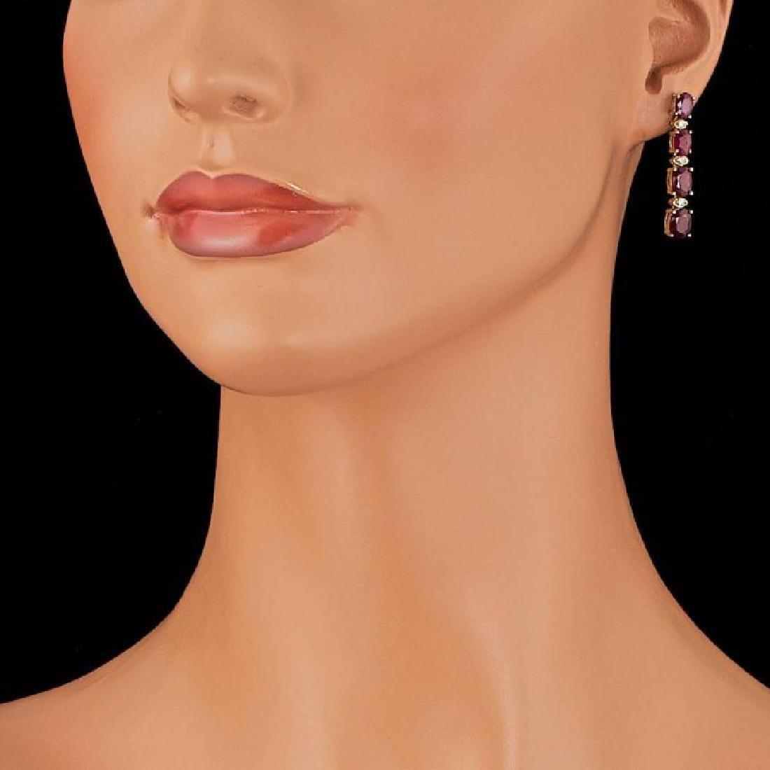 14k Gold 7.00ct Ruby 0.20ct Diamond Earrings - 3