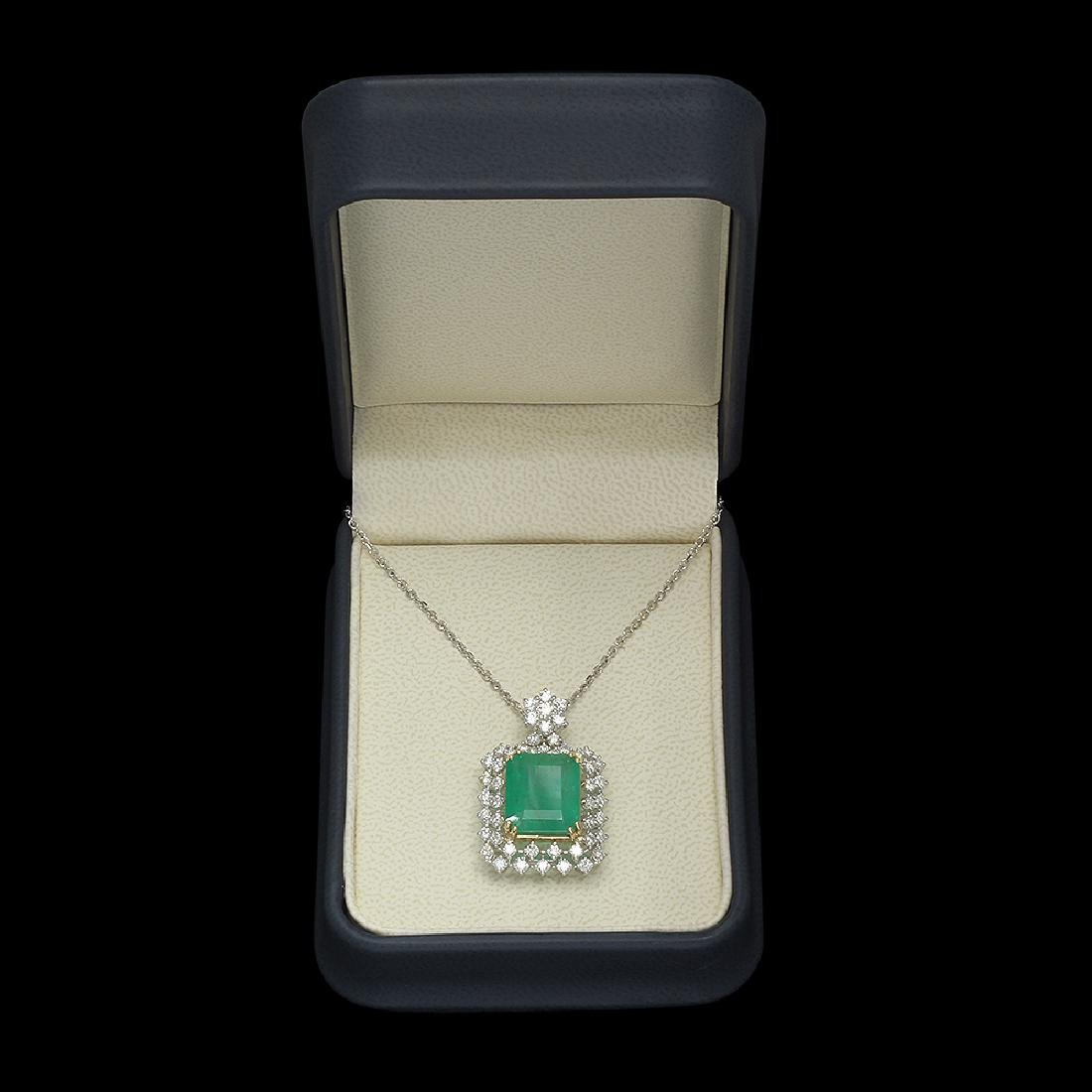 14K Gold 9.35ct Emerald 2.00ct Diamond Pendant - 3