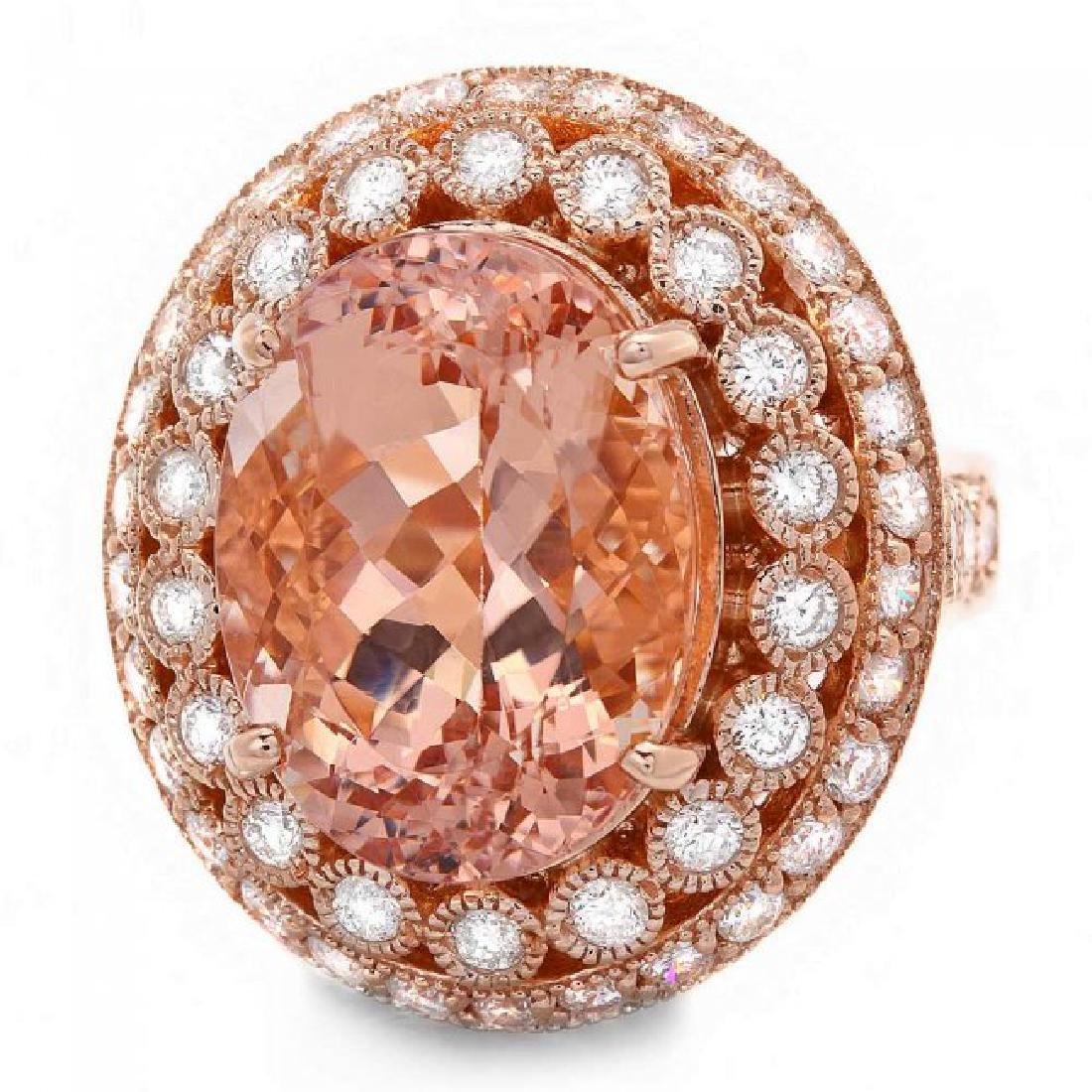 14k Rose 10.00ct Morganite 1.60ct Diamond Ring - 3
