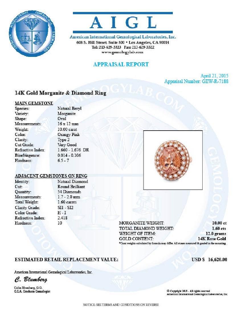 14k Rose 10.00ct Morganite 1.60ct Diamond Ring - 5