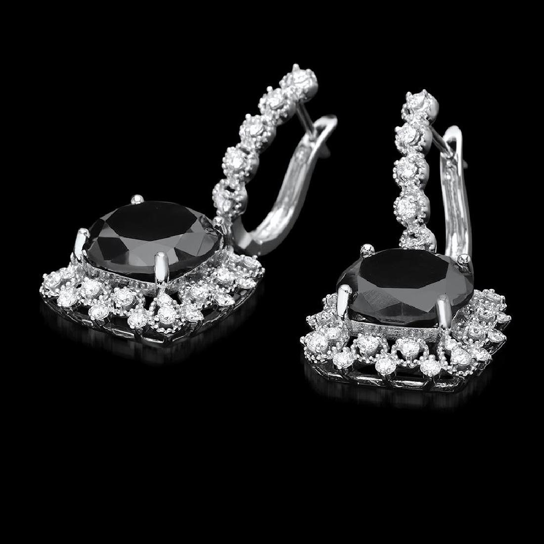 14k White Gold 13.88ct Diamond Earrings - 2