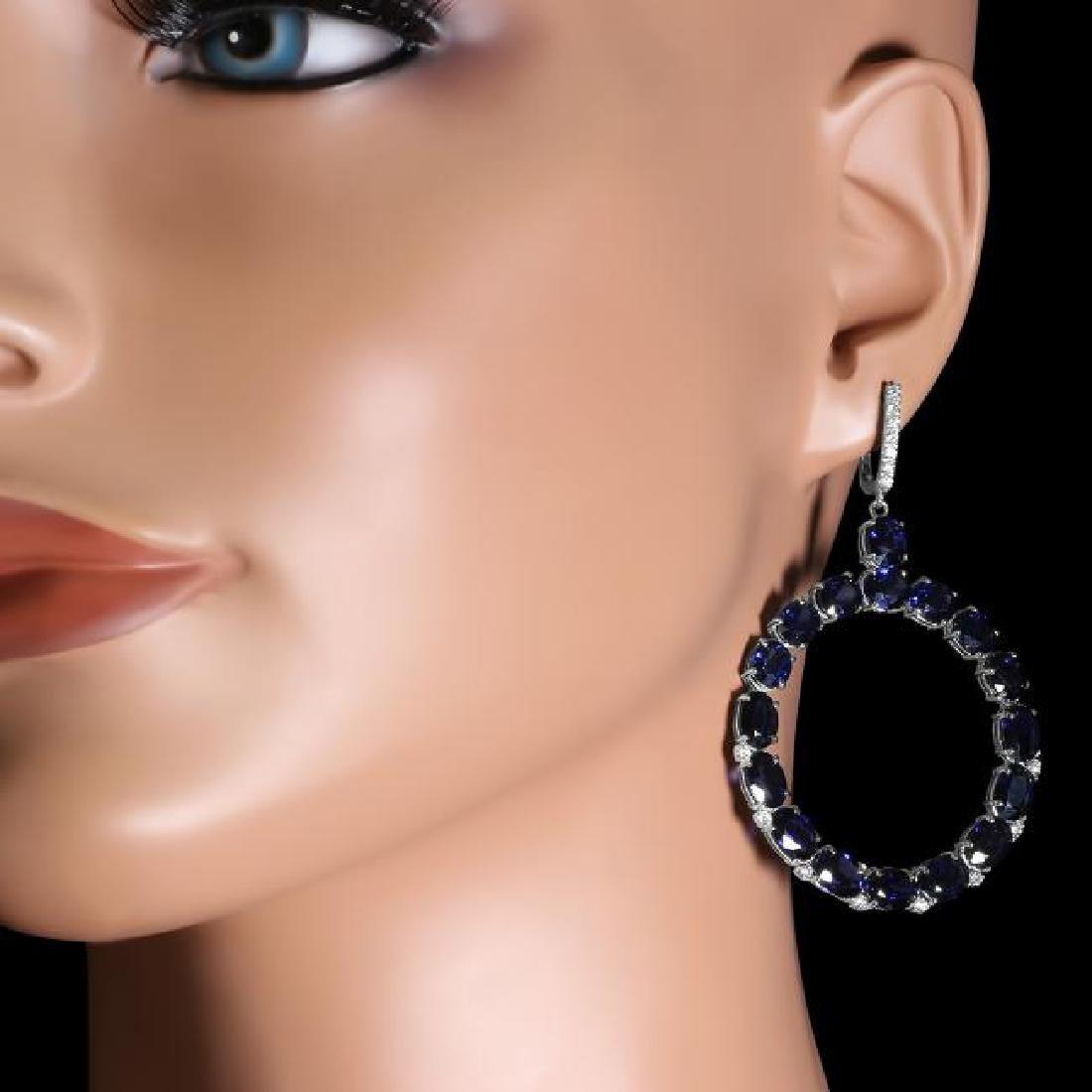 14K Gold 30.46ct Sapphire 0.52ct Diamond Earrings - 3