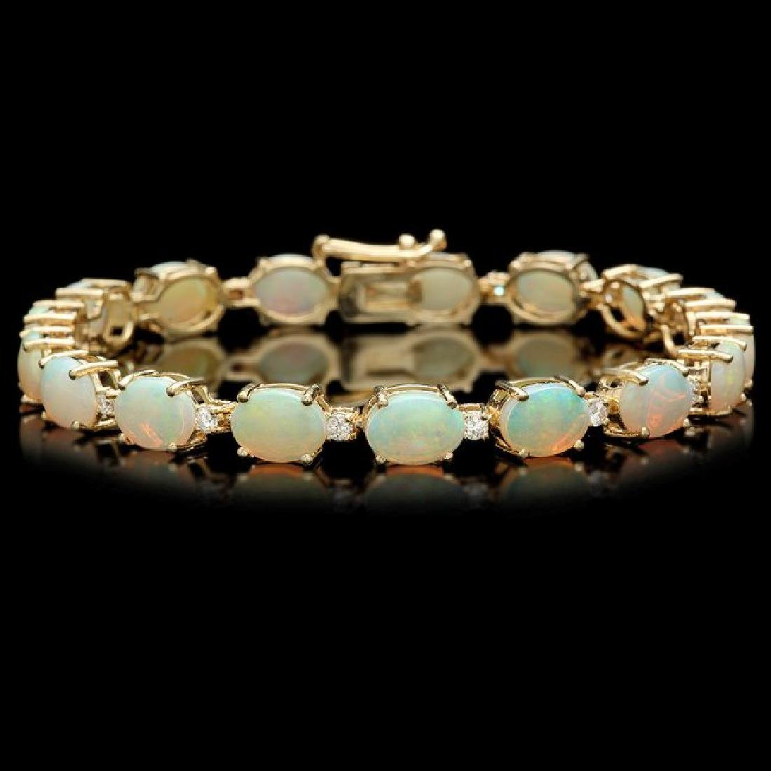 14k Gold 15.00ct Opal 0.75ct Diamond Bracelet
