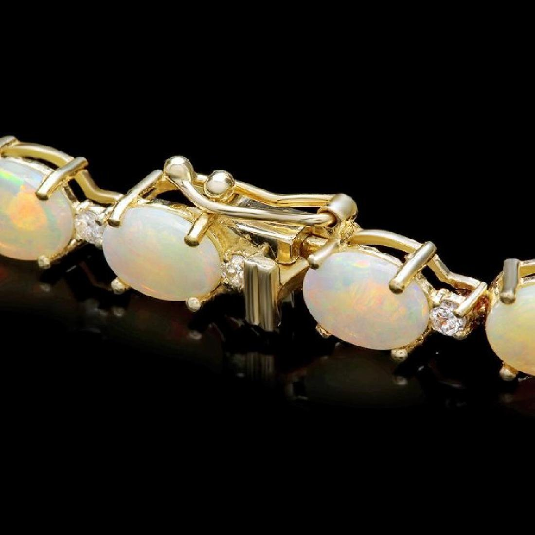 14k Gold 15.00ct Opal 0.75ct Diamond Bracelet - 2