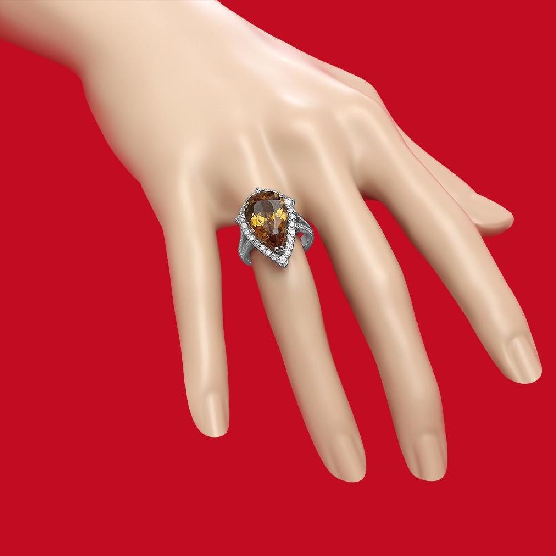 14K Gold 5.46ct Yellow Beryl 1.10ct Diamond Ring - 3