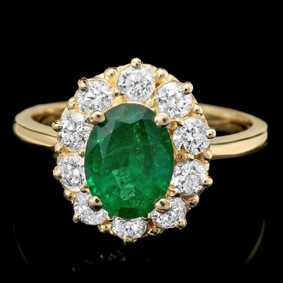 14k Gold 1.55ct Emerald 0.90ct Diamond Ring
