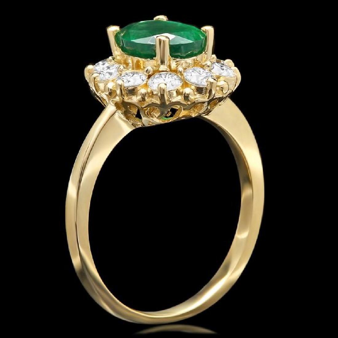 14k Gold 1.55ct Emerald 0.90ct Diamond Ring - 2
