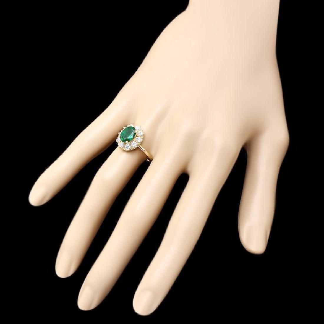 14k Gold 1.55ct Emerald 0.90ct Diamond Ring - 3