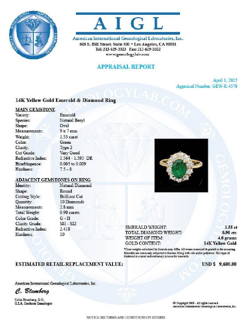 14k Gold 1.55ct Emerald 0.90ct Diamond Ring - 4