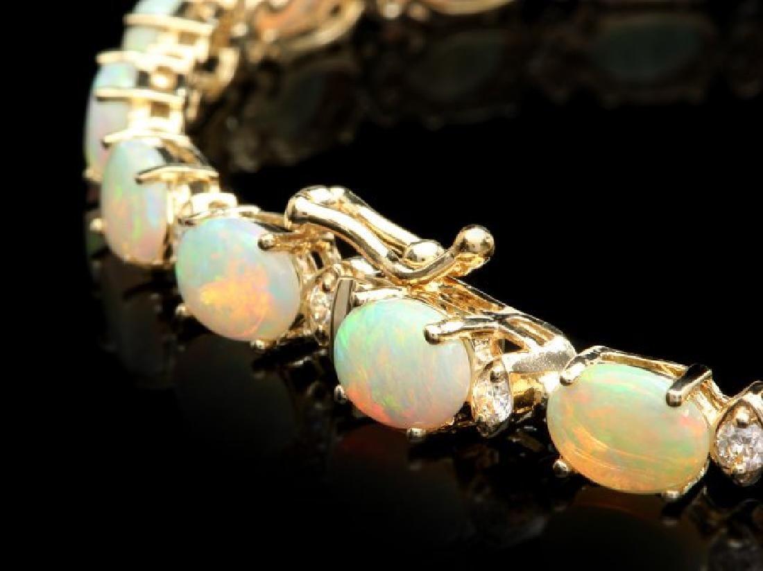 14k Gold 8.50ct Opal 0.85ct Diamond Bracelet - 2