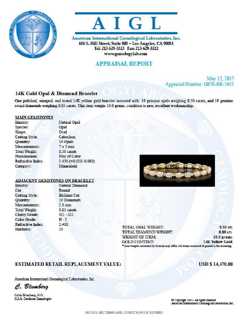 14k Gold 8.50ct Opal 0.85ct Diamond Bracelet - 5