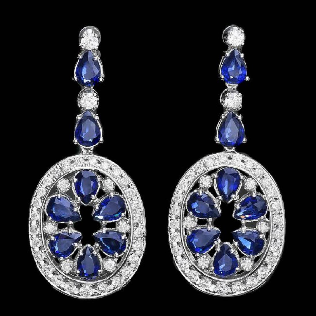 14k Gold 11.50ct Sapphire 3ct Diamond Earrings